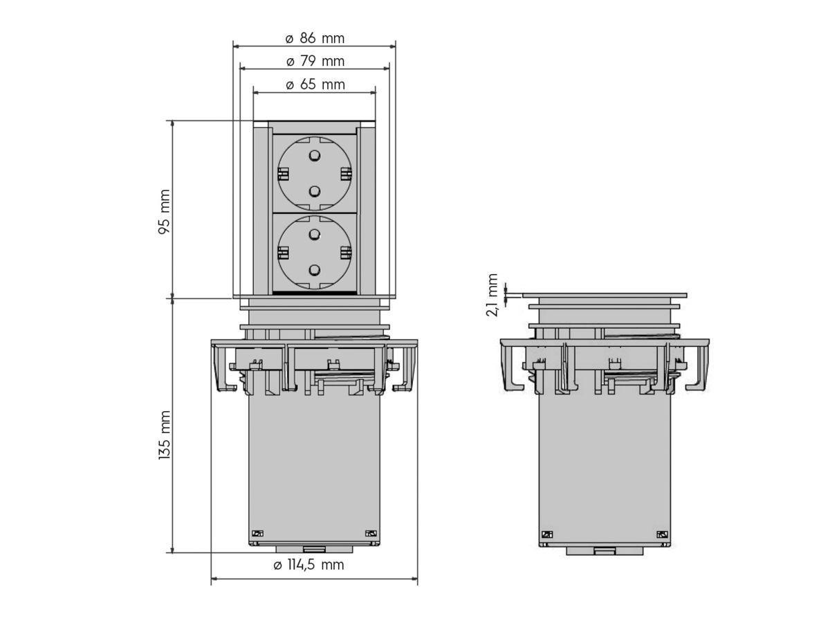 Bachmann Elevator 1x Strom Schuko, 1x CAT6, 1x HDMI / Chrom